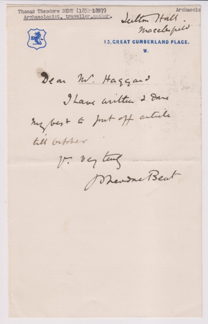 fig 6 Bent letter to rider haggard