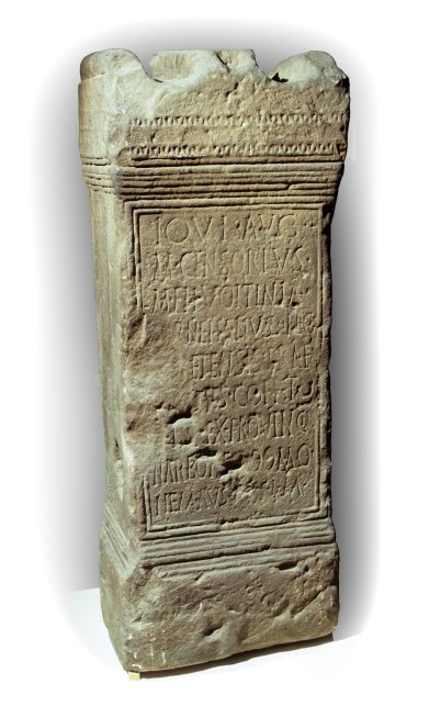 This altar erected by M Censorius Cornelianus records both his transfer to the Tenth Legion Fretensis based in Judaea and that his home was Nemausus, modern Nîmes