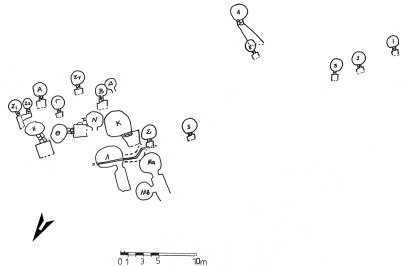 Fig. 4. Topographic sketch of the Mycenaean cemetery at Achaia Clauss.