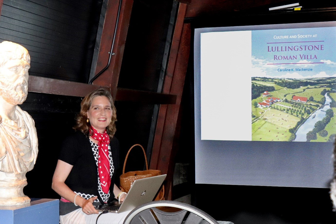 01 Caroline Mackenzie at the reunion of the original diggers at Lullingstone Roman Villa, July 2019.jpg