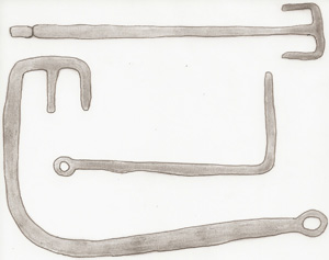 Fig. 1.3 Sketches of Celtic (Viking)keys from Sweden made of iron